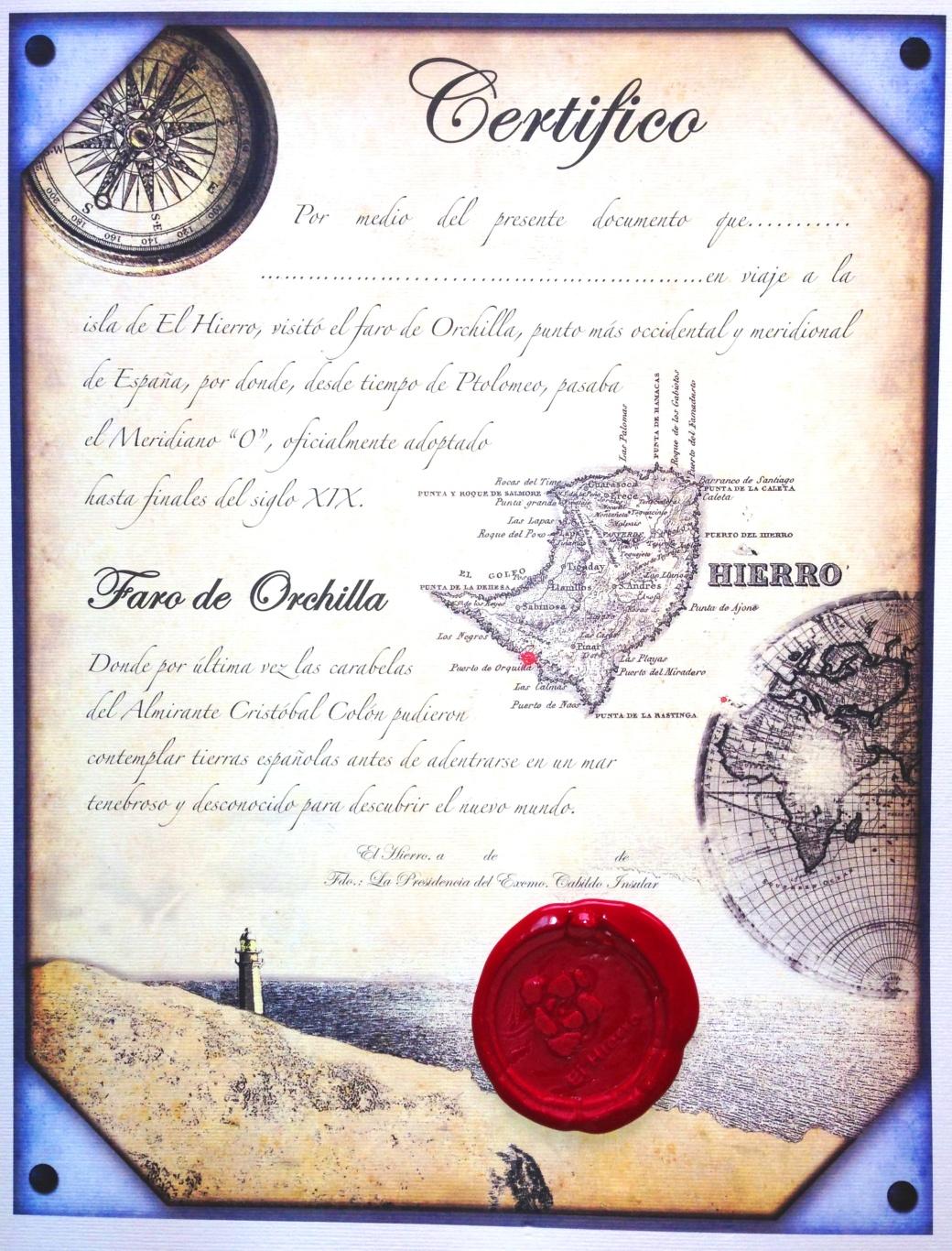 Certificado visita faro orchilla
